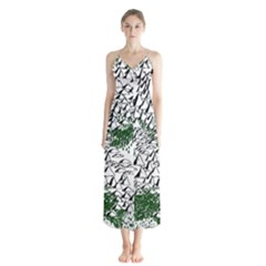 Montains Hills Green Forests Button Up Chiffon Maxi Dress