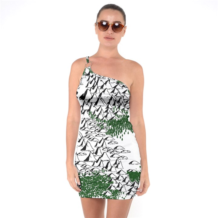 Montains Hills Green Forests One Soulder Bodycon Dress