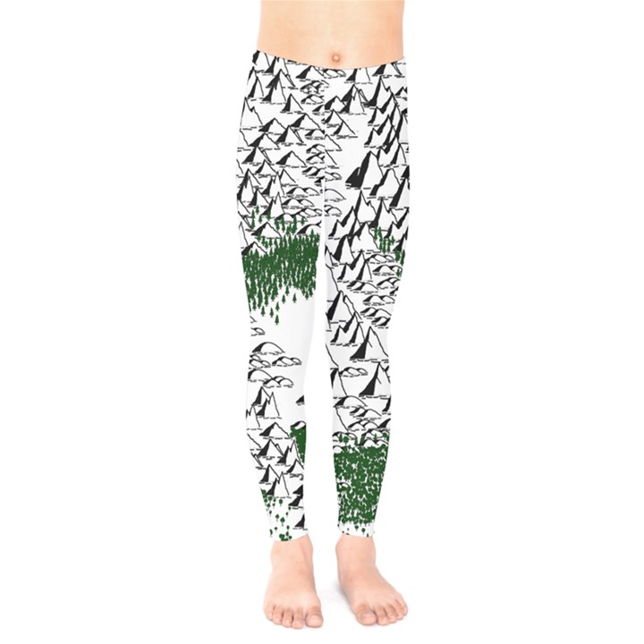 Montains Hills Green Forests Kids  Legging