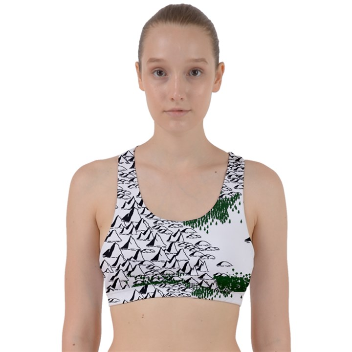 Montains Hills Green Forests Back Weave Sports Bra