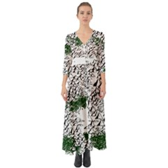 Montains Hills Green Forests Button Up Boho Maxi Dress