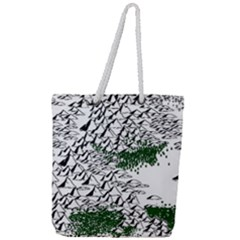 Montains Hills Green Forests Full Print Rope Handle Tote (large) by Alisyart