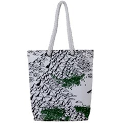 Montains Hills Green Forests Full Print Rope Handle Tote (small) by Alisyart