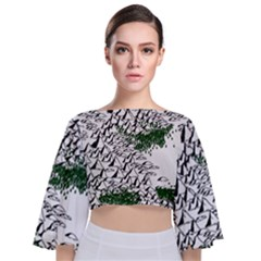 Montains Hills Green Forests Tie Back Butterfly Sleeve Chiffon Top