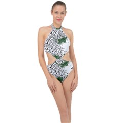 Montains Hills Green Forests Halter Side Cut Swimsuit