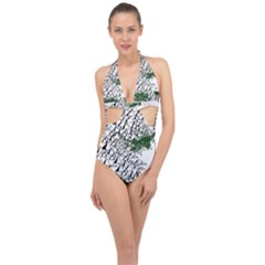 Montains Hills Green Forests Halter Front Plunge Swimsuit