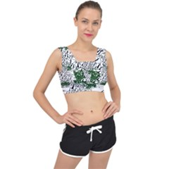 Montains Hills Green Forests V Back Sports Bra