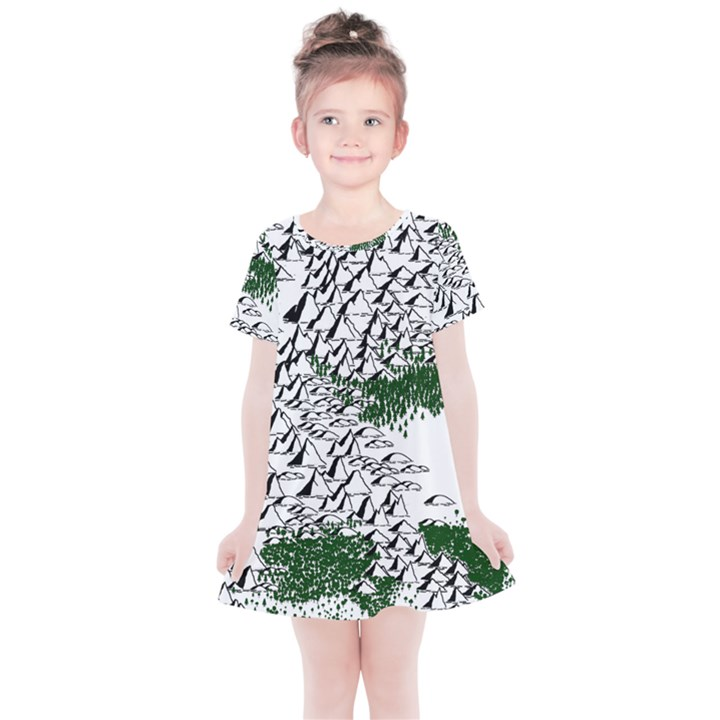 Montains Hills Green Forests Kids  Simple Cotton Dress
