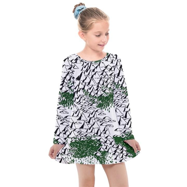 Montains Hills Green Forests Kids  Long Sleeve Dress