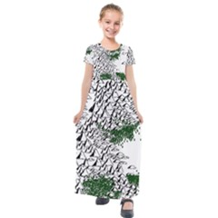 Montains Hills Green Forests Kids  Short Sleeve Maxi Dress