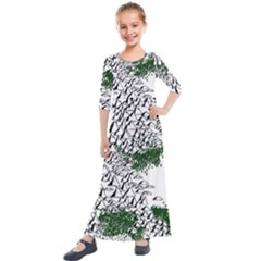 Montains Hills Green Forests Kids  Quarter Sleeve Maxi Dress