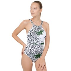 Montains Hills Green Forests High Neck One Piece Swimsuit