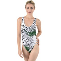 Montains Hills Green Forests High Leg Strappy Swimsuit