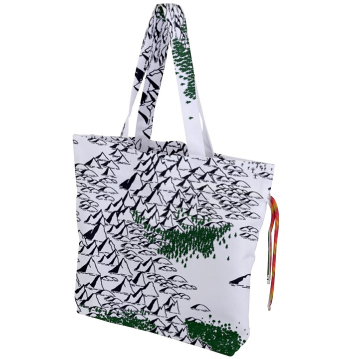 Montains Hills Green Forests Drawstring Tote Bag