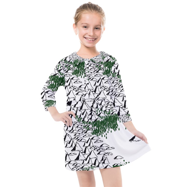 Montains Hills Green Forests Kids  Quarter Sleeve Shirt Dress