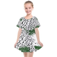 Montains Hills Green Forests Kids  Smock Dress
