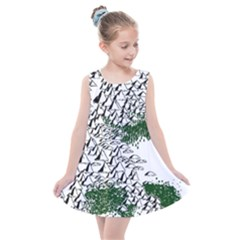 Montains Hills Green Forests Kids  Summer Dress