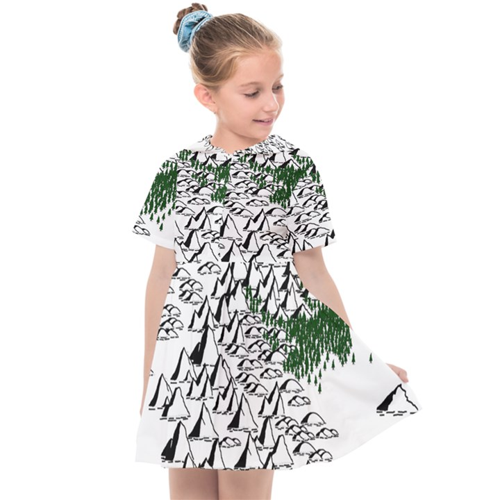 Montains Hills Green Forests Kids  Sailor Dress