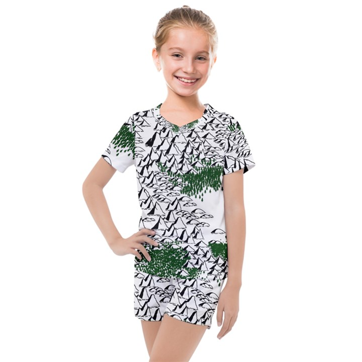 Montains Hills Green Forests Kids  Mesh Tee and Shorts Set