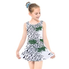 Montains Hills Green Forests Kids  Skater Dress Swimsuit