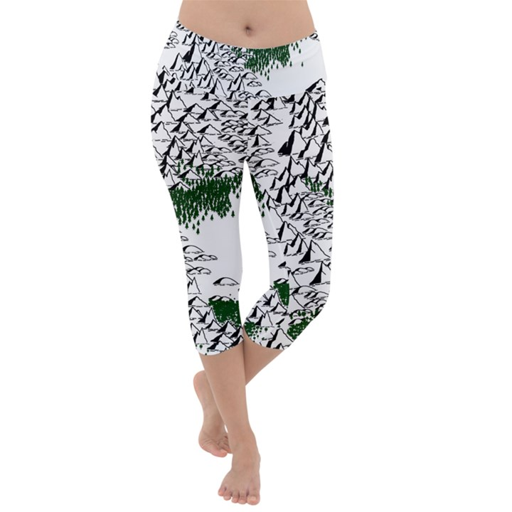 Montains Hills Green Forests Lightweight Velour Capri Yoga Leggings