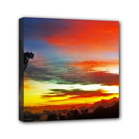 Sunset Mountain Indonesia Adventure Mini Canvas 6  X 6  (stretched)