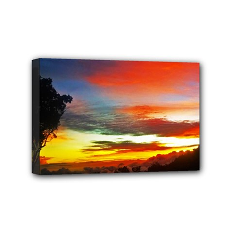 Sunset Mountain Indonesia Adventure Mini Canvas 6  X 4  (stretched)