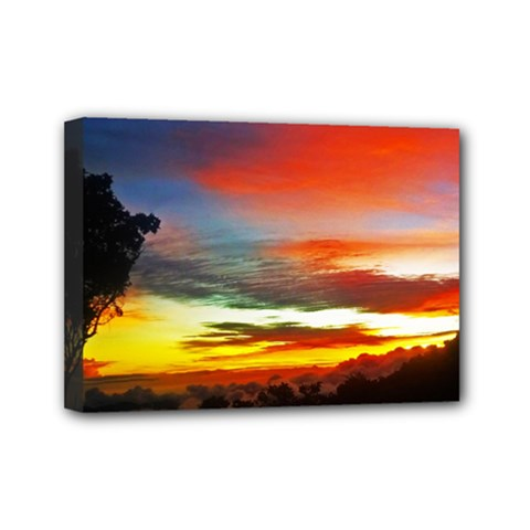 Sunset Mountain Indonesia Adventure Mini Canvas 7  x 5  (Stretched)