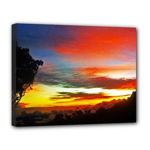 Sunset Mountain Indonesia Adventure Canvas 14  x 11  (Stretched)