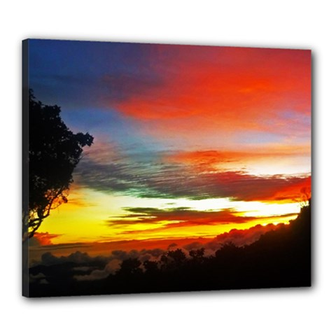 Sunset Mountain Indonesia Adventure Canvas 24  X 20  (stretched)