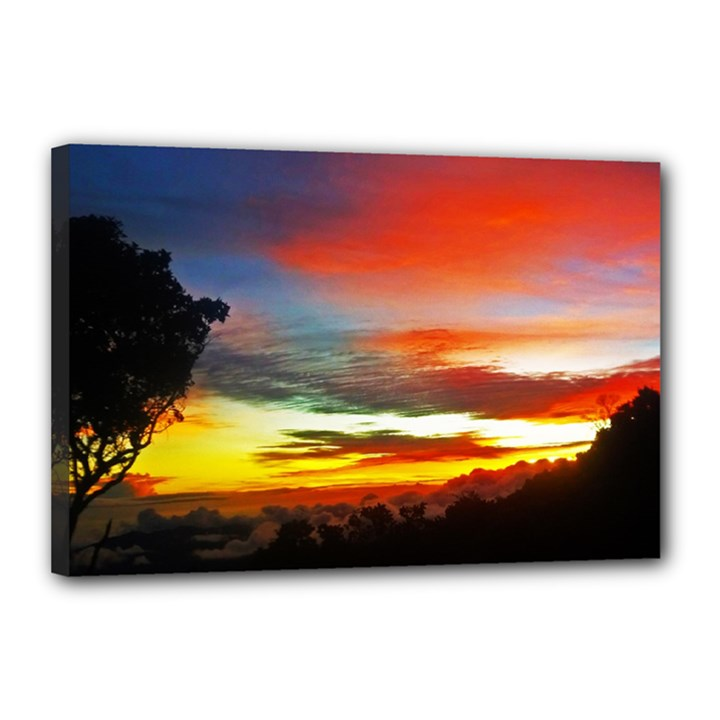 Sunset Mountain Indonesia Adventure Canvas 18  x 12  (Stretched)
