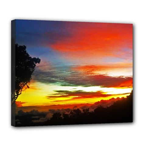 Sunset Mountain Indonesia Adventure Deluxe Canvas 24  X 20  (stretched)