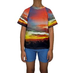Sunset Mountain Indonesia Adventure Kids  Short Sleeve Swimwear