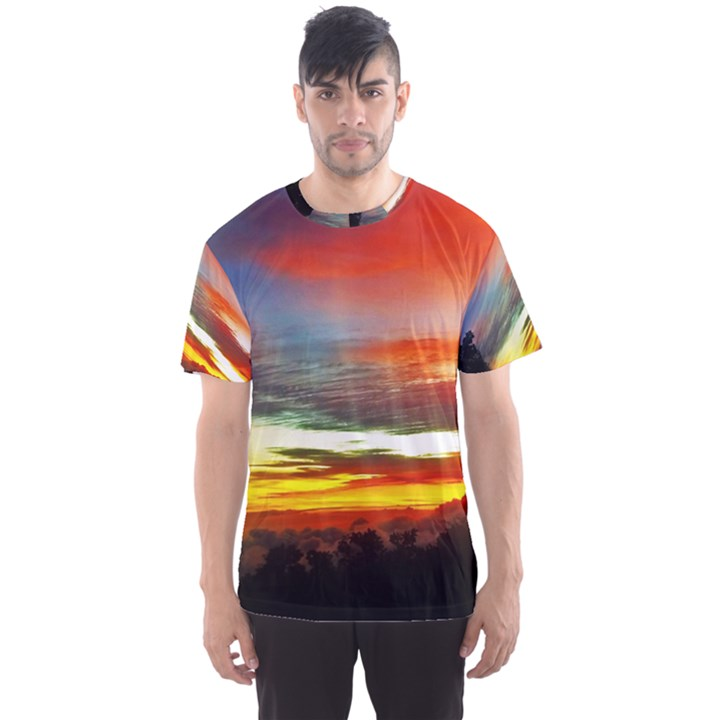 Sunset Mountain Indonesia Adventure Men s Sports Mesh Tee