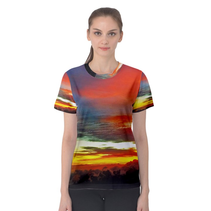 Sunset Mountain Indonesia Adventure Women s Sport Mesh Tee