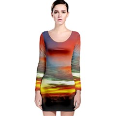 Sunset Mountain Indonesia Adventure Long Sleeve Bodycon Dress