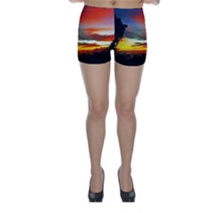 Sunset Mountain Indonesia Adventure Skinny Shorts