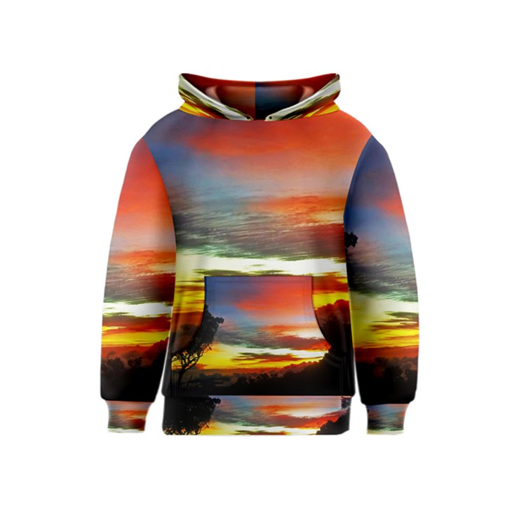 Sunset Mountain Indonesia Adventure Kids  Pullover Hoodie