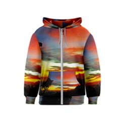 Sunset Mountain Indonesia Adventure Kids  Zipper Hoodie