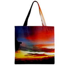 Sunset Mountain Indonesia Adventure Zipper Grocery Tote Bag