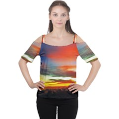 Sunset Mountain Indonesia Adventure Cutout Shoulder Tee