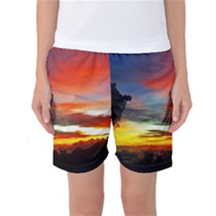 Sunset Mountain Indonesia Adventure Women s Basketball Shorts by Nexatart