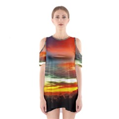 Sunset Mountain Indonesia Adventure Shoulder Cutout One Piece Dress
