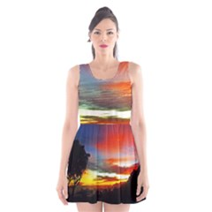 Sunset Mountain Indonesia Adventure Scoop Neck Skater Dress
