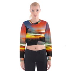Sunset Mountain Indonesia Adventure Cropped Sweatshirt