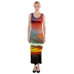 Sunset Mountain Indonesia Adventure Fitted Maxi Dress