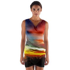 Sunset Mountain Indonesia Adventure Wrap Front Bodycon Dress