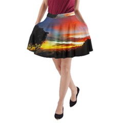 Sunset Mountain Indonesia Adventure A-Line Pocket Skirt