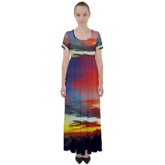 Sunset Mountain Indonesia Adventure High Waist Short Sleeve Maxi Dress by Nexatart