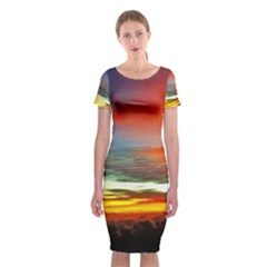Sunset Mountain Indonesia Adventure Classic Short Sleeve Midi Dress